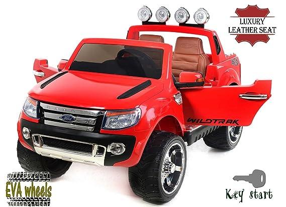 FORD RANGER Wildtrak de lujo, Rojo, producto BAJO LICENCIA, con mando a distancia 2.4Ghz Bluetooth, apertura de puertas y capó, os asientos en cuero, ...