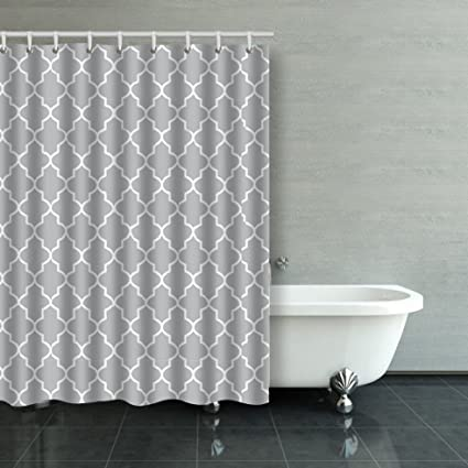 Emvency Shower Curtain Vintage Gray Quatrefoil Design White Pattern Polyester Fabric 54 X 72 Inches