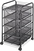 Safco Products Onyx Mesh 4 Drawer Rolling File Cart 5214BL, Black Powder Coat Finish, Durable Steel Mesh Construction,...