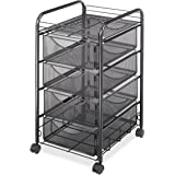 Safco Products 5214BL Onyx Mesh File Cart with 4 Storage Drawers, Black