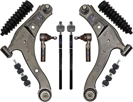 Outer Tie rods Front Sway Bar Links Kit Replacement for 2001-2010 PT Cruiser Front Lower Control Arms Detroit Axle 2000-2005 Dodge Neon