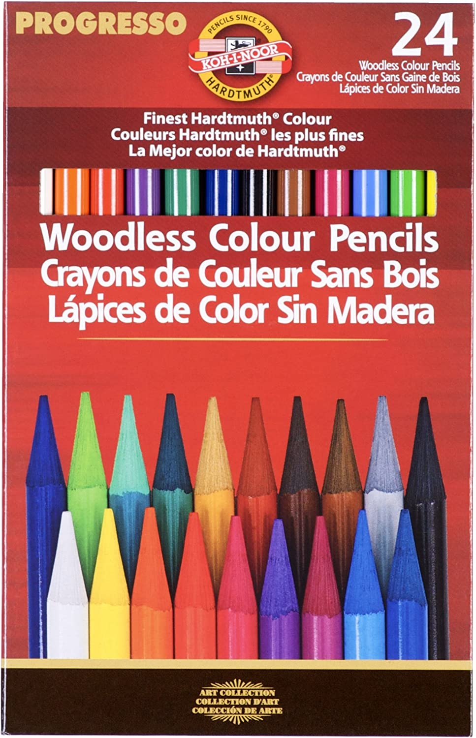 Koh-I-Noor Progresso Woodless Colored 24-Pencil Set, Assorted Colored Pencils (FA8758.24) : Artists Pencils : Office Products