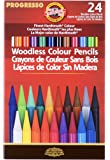 Koh-I-Noor Progresso Woodless Colored 24-Pencil Set, Assorted Colored Pencils (FA8758.24)