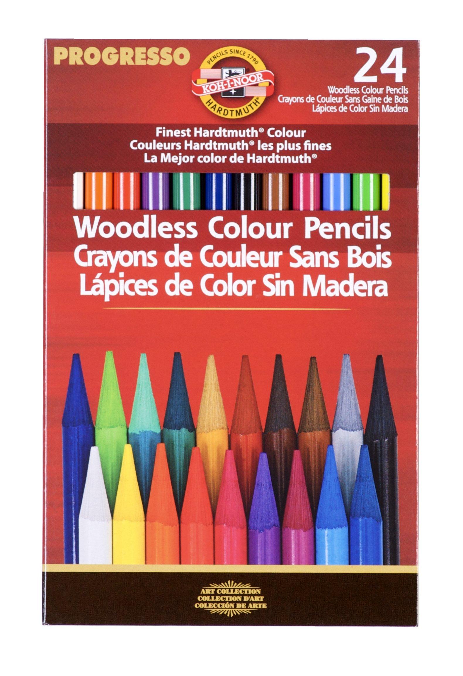 Koh-I-Noor Progresso Woodless Colored 24-Pencil Set, Assorted Colored Pencils (FA8758.24)