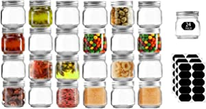 Tanglong Mason Jars 8 oz Glass Candle Jars With Silver Lids, Perfect As Baby Food Jars Jam Jars Jelly Jars Spice Jars, Set of 24 with 30 Chalkboard Stickers