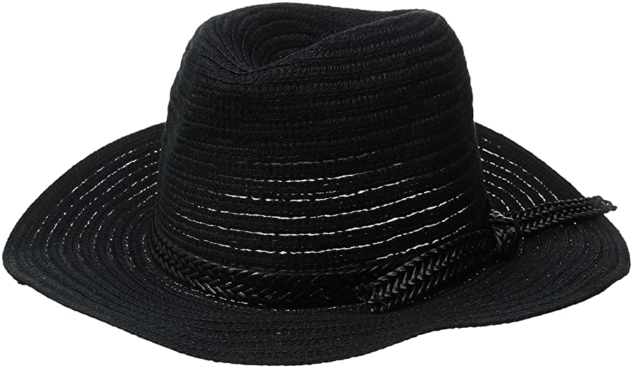 74c8584675db1e Rampage Women's Textured Panama Hat with Braid Band, Black, One Size ...
