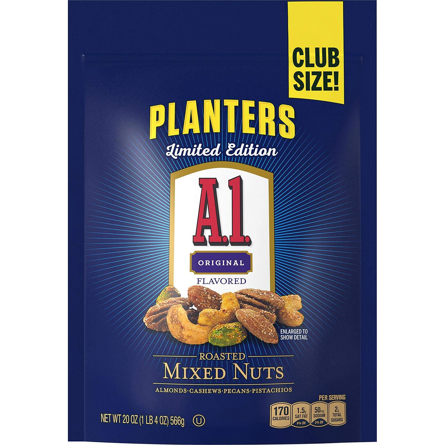 Planters A.1. Limited Edition Original Flavored Roasted Mixed Nuts in Large Resealable Bag - 20 oz by A1 Planters