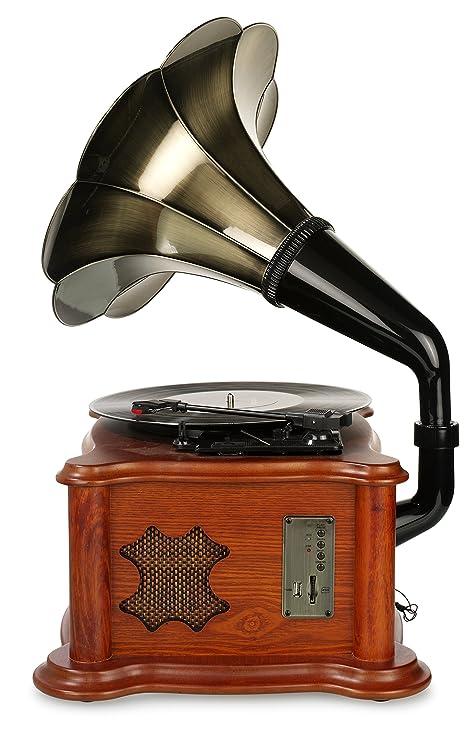 Ricatech RMC350 Legend Music Centre 5 en 1 con trompeta vintage | Tocadisco de 3 velocidades y altavoces incorporados, reproductor de CD, ranura USB y ...