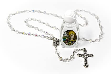 Blessed Bottle of Lourdes Water & Crystal Our Lady of Lourdes Rosary Beads Catholic Gifts From