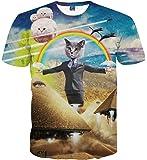 Wiboyjp メンズtシャツ 猫 ネコ 3d ヒップホップ ストリート スウェット t shirt 3dtシャツ 面白 半袖tシャツ おしゃれ メンズ 3D 春 夏 猫柄 サマー ファッション ユニセックス