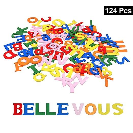 Colorido Set Letras y Números de Madera (124 Piezas) - Set ...