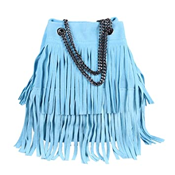 OBC Made in Italy Damen Leder Tasche Kettentasche Bucket Bag Fransen Wildleder Handtasche Umhängetasche Schultertasche Ledertasche Beuteltasche (Blau