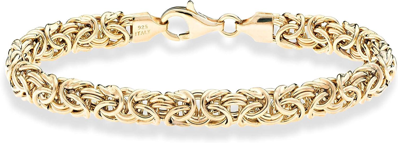 Miabella 18K Gold Over Sterling Silver Italian Byzantine Bracelet for Women 6.5, 7, 7.25, 7.5, 8 Inch 925 Handmade in Italy