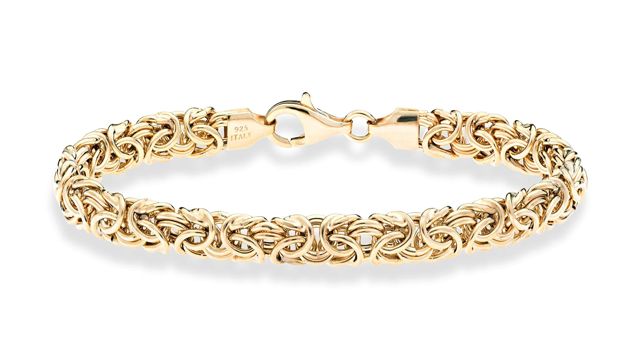 MiaBella 18K Gold Over Sterling Silver Italian Byzantine Bracelet for Women 6.5, 7, 7.25, 7.5, 8 Inch 925 Handmade in Italy (8) by MiaBella