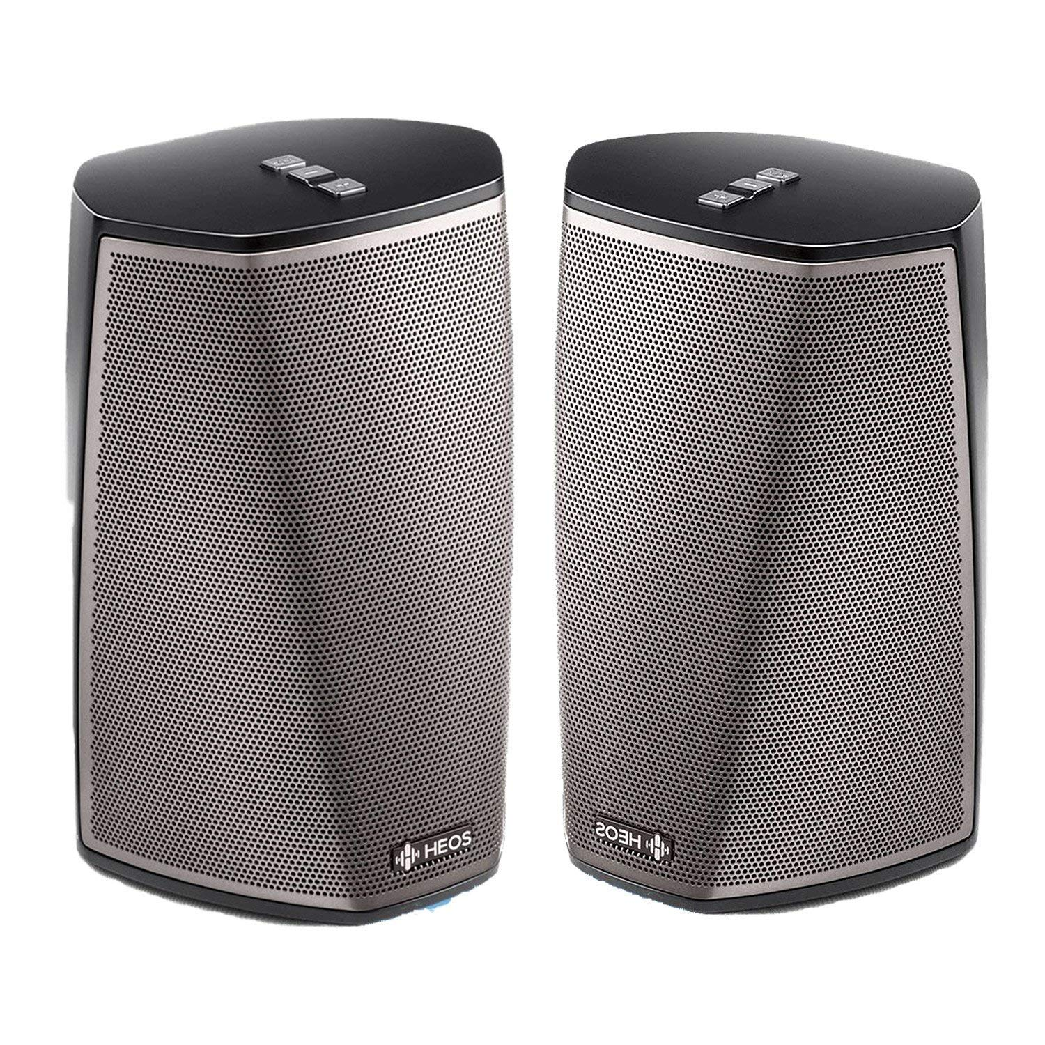 Denon HEOS 1 HS2 BK Compact Portable Wireless Speaker System (Pair) Bundle with WiFi & Bluetooth Wireless Connectivity, Class D Amplifiers & HEOS App in Black by Denon
