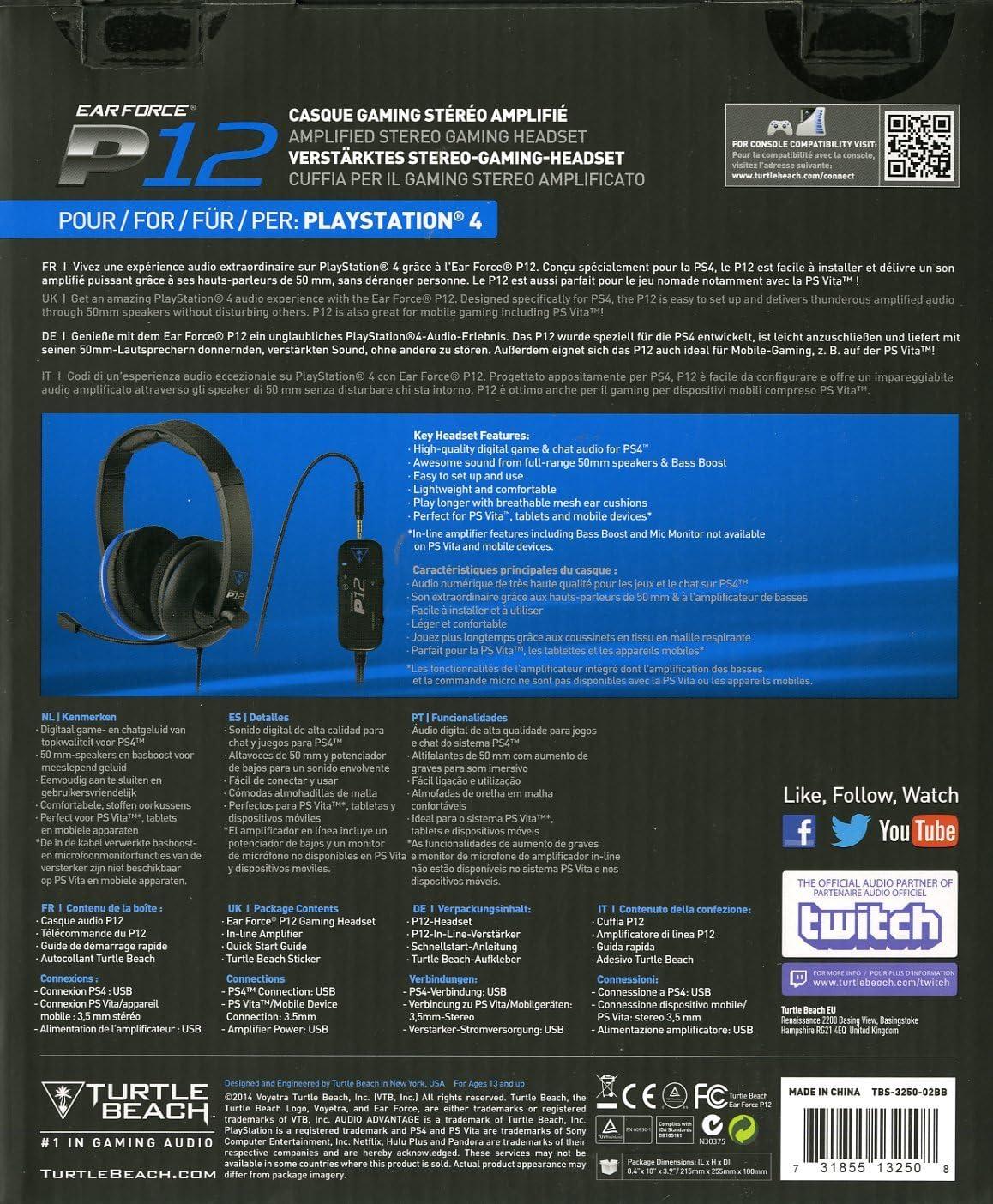 Turtle Beach - Auriculares Ear Force P12 Amplificados (PS4, PS Vita): Amazon.es: Videojuegos