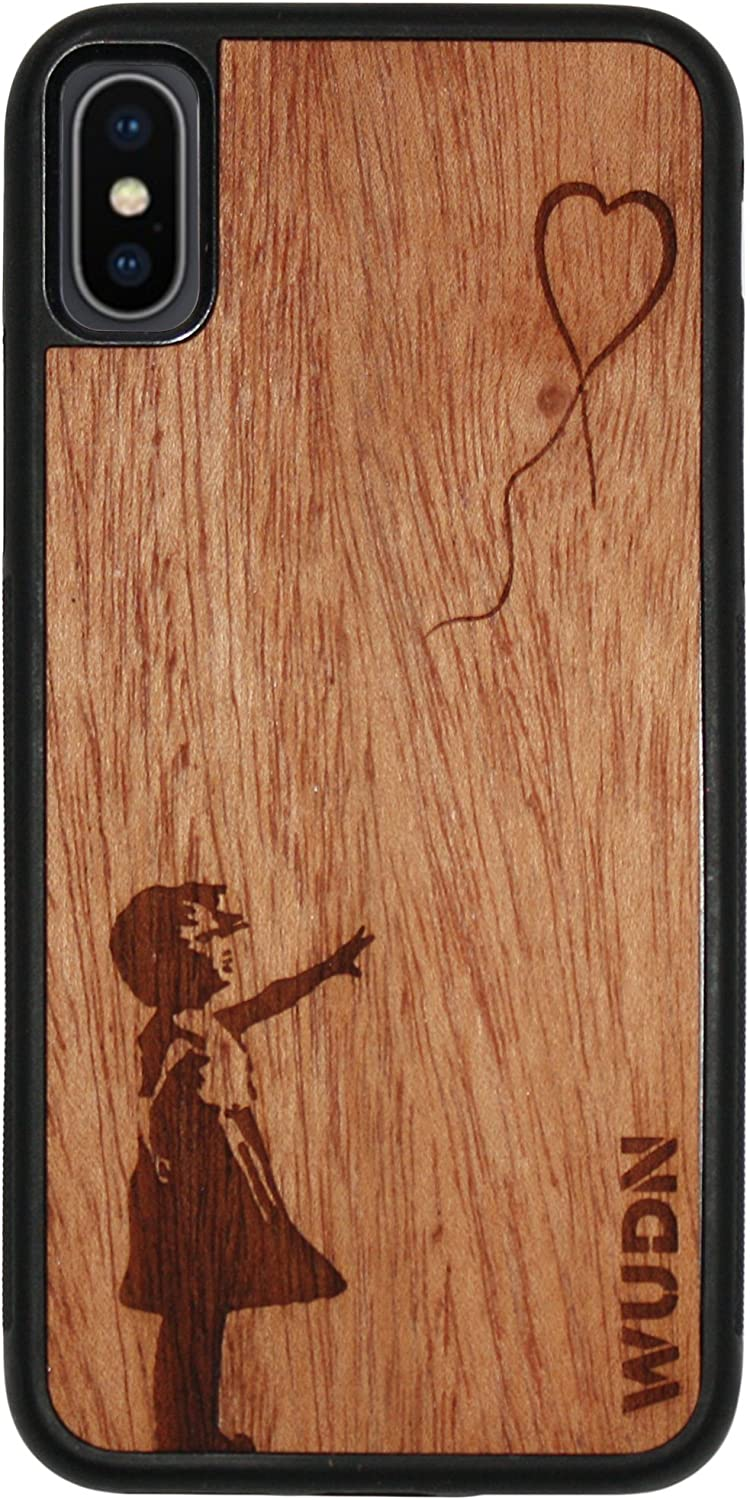 Wooden Phone Case (Banksy Balloon Girl) Compatible with iPhone Xr, iPhone 10r