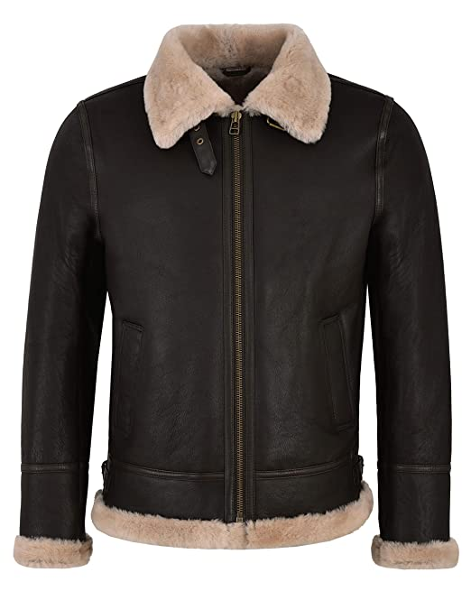 Smart Range Mens B3 Brown Beige Fur Shearling Sheepskin Leather Jacket Bomber RAF NV-65