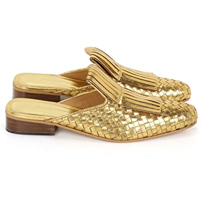 Anna Ricci Handwoven Fringe Leather Mules - Gold... | Mules & Clogs