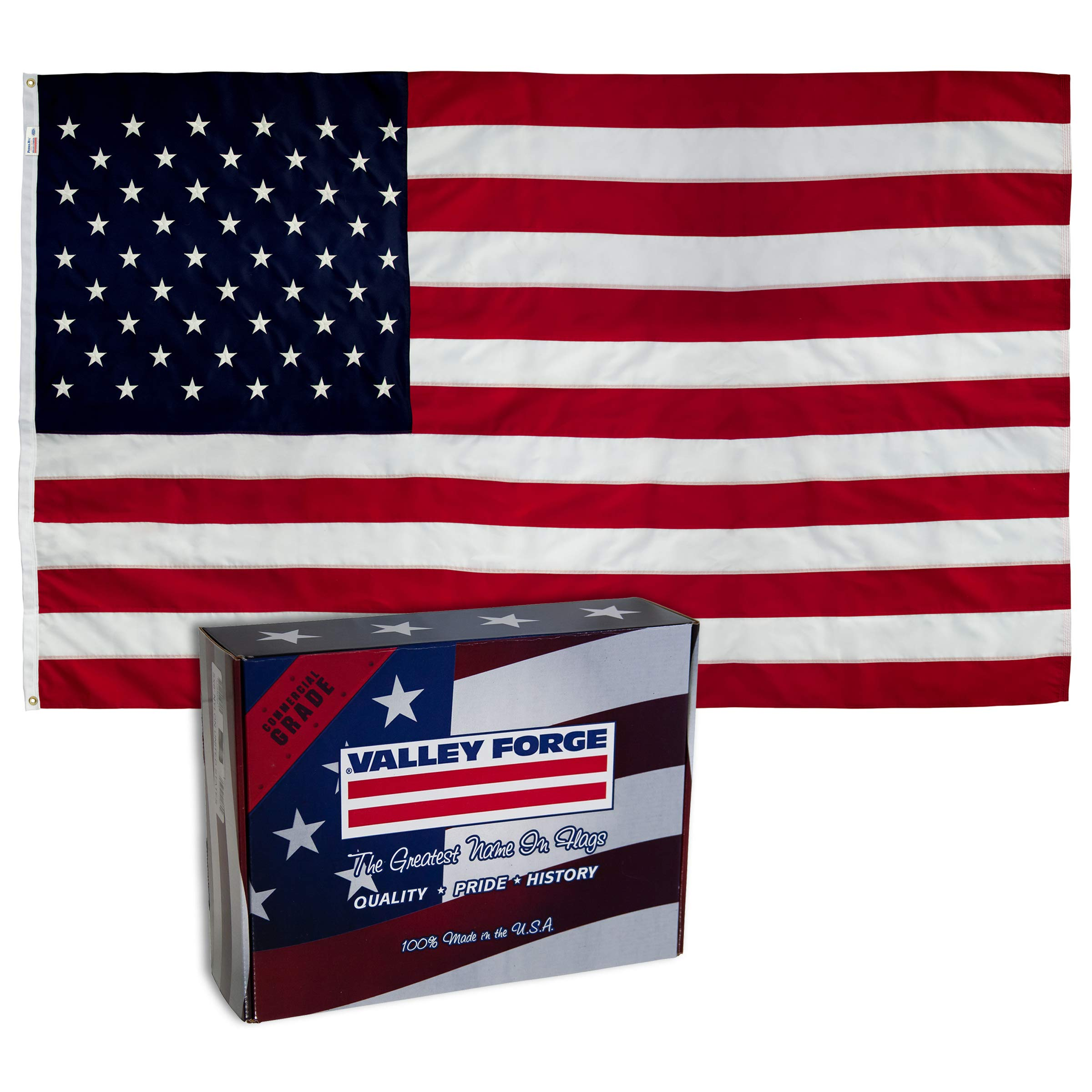 Valley Forge, American Flag, Nylon PERMA-NYL, 3'x5', 100% Made in USA, Heavy-Duty Brass Grommets, Sewn Stripes and Embroidered Stars