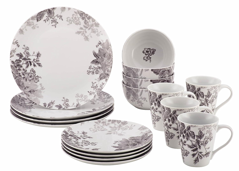 BonJour Dinnerware Shaded Garden 16-Piece Porcelain Dinnerware Set Slate Amazon.co.uk Kitchen \u0026 Home  sc 1 st  Amazon UK & BonJour Dinnerware Shaded Garden 16-Piece Porcelain Dinnerware Set ...