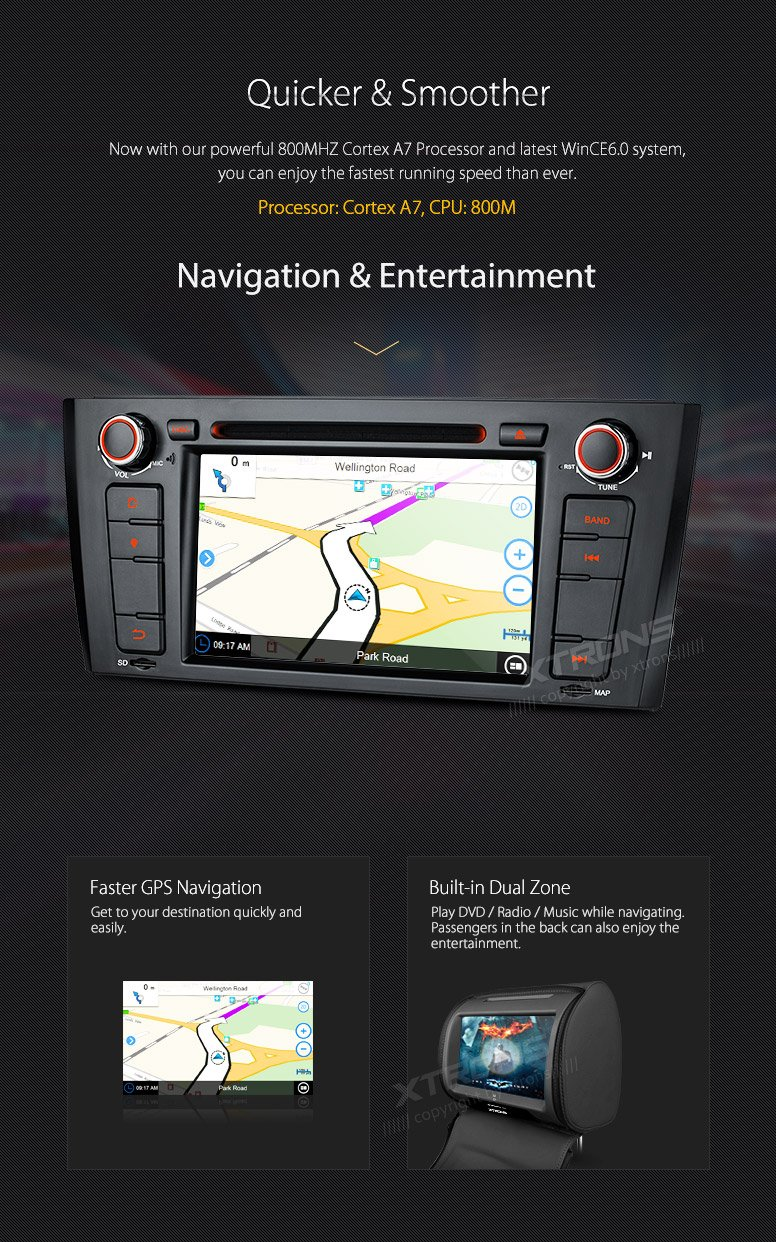 XTRONS 7 Inch HD Digital Touch Screen Car Stereo Radio In-Dash DVD Player with GPS CANbus for BMW 1 Series E81 E82 E88 2007-2014 Map Card Included by XTRONS (Image #6)