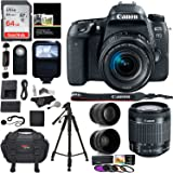 Canon EOS 77D Camera, EF-S 18-55 IS STM Lens, Lexar 64GB Memory, Ritz Gear Premium SLR Camera Bag, Polaroid Filter Kit, Flash and Accessory Bundle