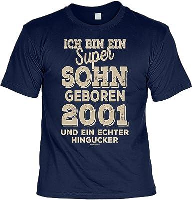 18 Geburtstag 2001 T Shirt 18 Geburtstag Geburtstagsshirt Sprüche Jahrgang 2001 Ich Bin Ein Super Sohn Geboren 2001 Geschenk Shirt Zum