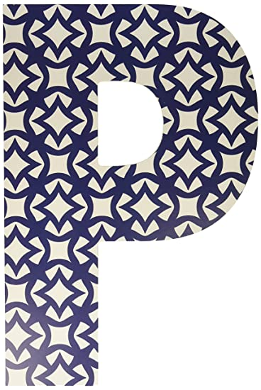 Proudly Made in USA 12 x 0.5 x 18 Stupell Home D/écor Navy and White Geometric 18 Inch Hanging Wooden Initial