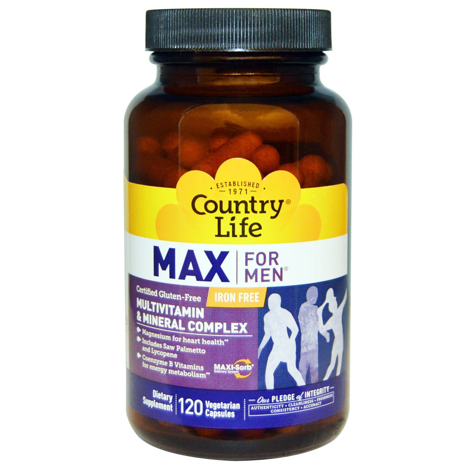 Country Life Max for Men - Multivitamin and Mineral Complex, Iron-free - 120 Vegetarian Capsules