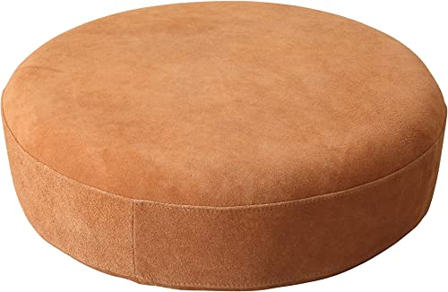 Bloomingville Wood Framed Round Leather Pouf, Brown