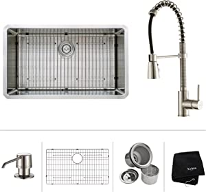 """Kraus KHU100-32-KPF1612-KSD30SS 32"""" Undermount Single Bowl Stainless Steel Kitchen Sink with Stainless Steel Finish Kitchen Faucet and Soap Dispenser"""
