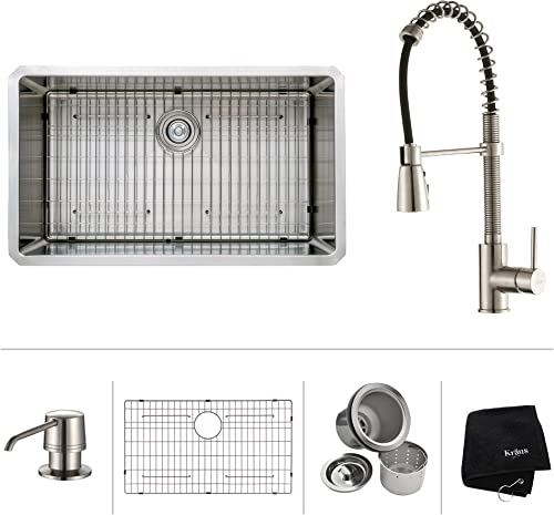 Kraus KHU100-32-KPF1612-KSD30SS 32 Undermount Single Bowl Stainless Steel Kitchen Sink with Stainless Steel Finish Kitchen Faucet and Soap Dispenser