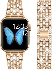 Marge Plus Compatible with Apple Watch Band 38mm 40mm 42mm 44mm, Women Jewelry Wristband Bling Diamond Metal Strap for iWatch Band SE Series 6 5 4 3 2 1 ( Champagne Gold, 38mm/40mm)