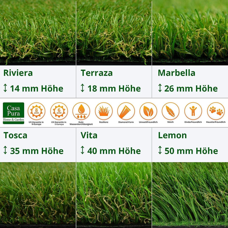 Terrasse casa pura Kunst-Rasen in 6 H/öhen /• Nat/ürlich weich in Echtrasen-Optik /• Rasen-Teppich Riviera Deko /• 200x150 cm 14 mm /• Kunstrasenteppich wasserdurchl/ässig /& UV-best/ändig /• Garten