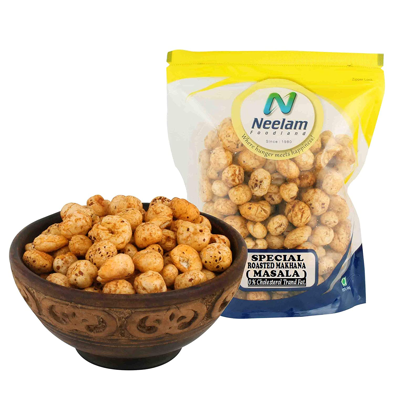 Neelam Foodland (Mumbai) Roasted Makhana Masala, Popped Lotus Seeds, Tea Coffee Snacks, Tasty and Healthy Indian Food and Snacks - 160 grams