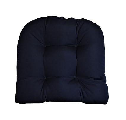Superieur Sunbrella Canvas Navy Wicker Chair Cushion 19u0026quot; X 19u0026quot; U Shape  Indoor / Outdoor