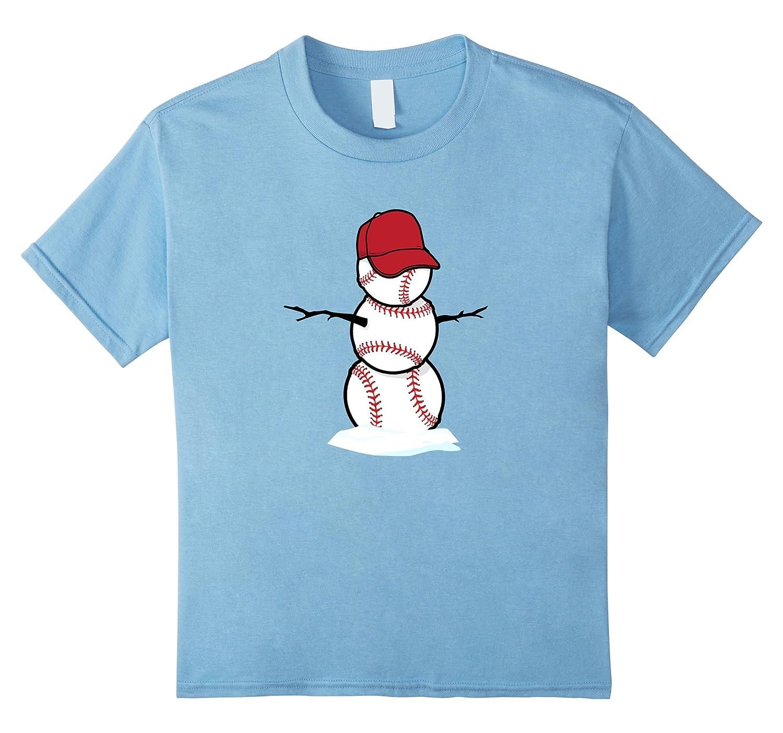 Kids Baseball Snowman Shirt Heather-Xalozy