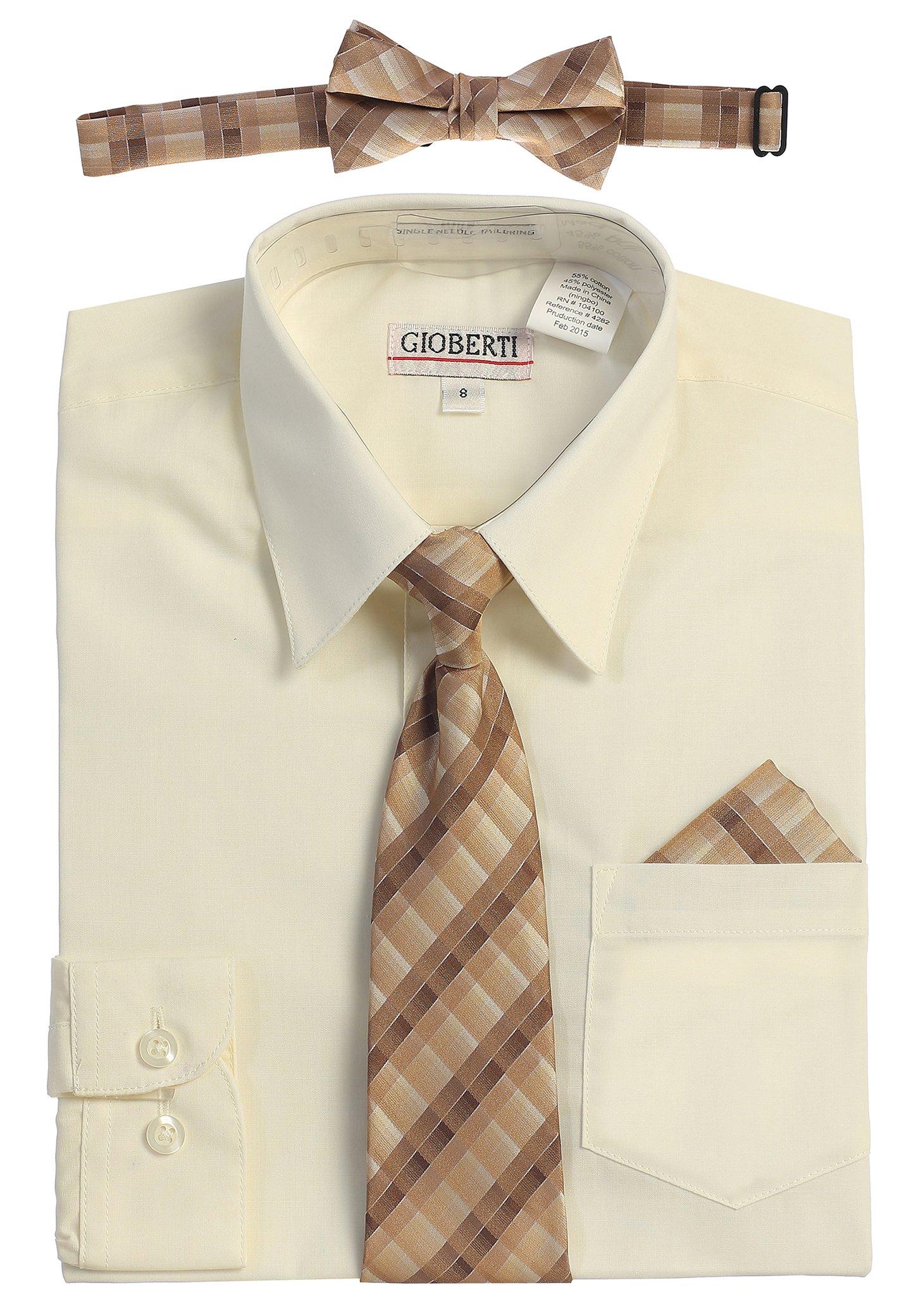 Gioberti Boy's Long Sleeve Dress Shirt and Plaid Tie Set, Ivory, Size 14