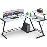 "Coleshome Reversible L Shaped Desk 60.8"" Home Office Desk with Round Corner Computer Desk with Large Monitor Stand, PC…"