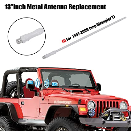 For Jeep Wrangler TJ Accessories, 13u0026quot;/33cm Metal Antenna Replacement  FM AM Radio