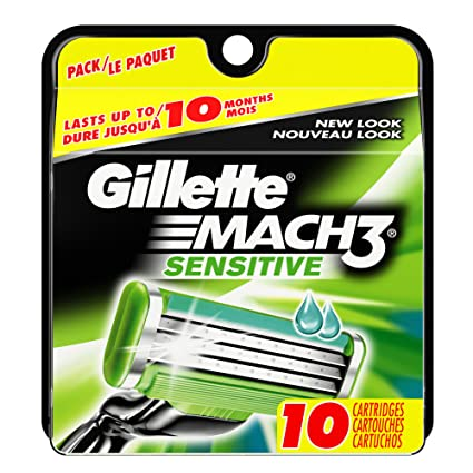 Gillette Mach 3 Sensitive Power - Cuchillas de recambio para maquinilla de afeitar (10 unidades