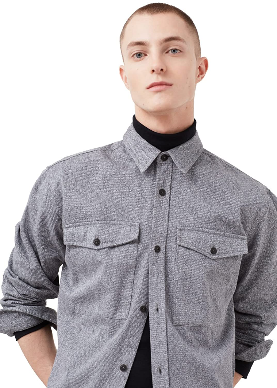 MANGO MAN - Regular-fit pockets twill Shirts Plain overshirt - Size:XXL - Color:Grey