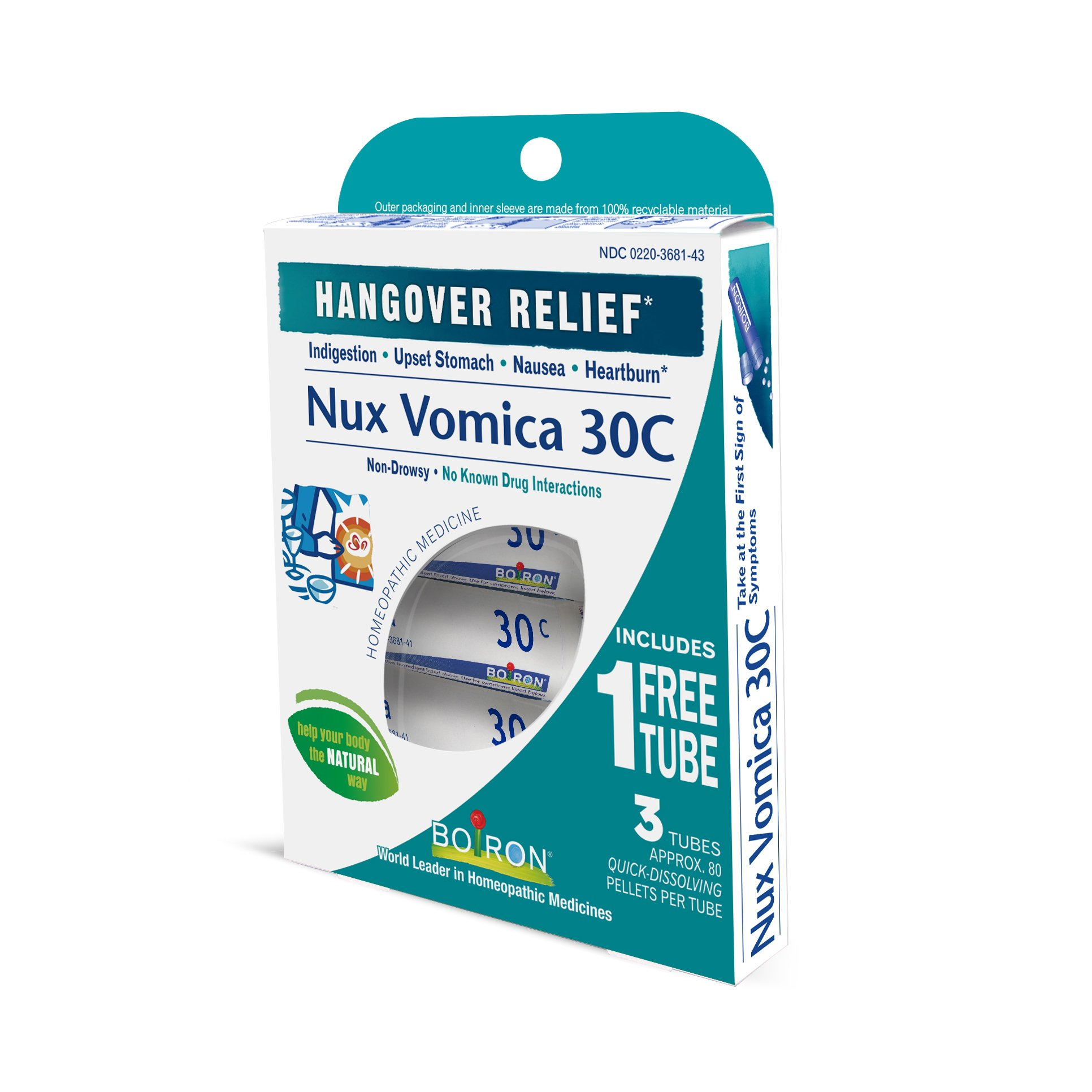 Boiron Nux Vomica 30C (3 Pack), Homeopathic Medicine for Hangover Relief