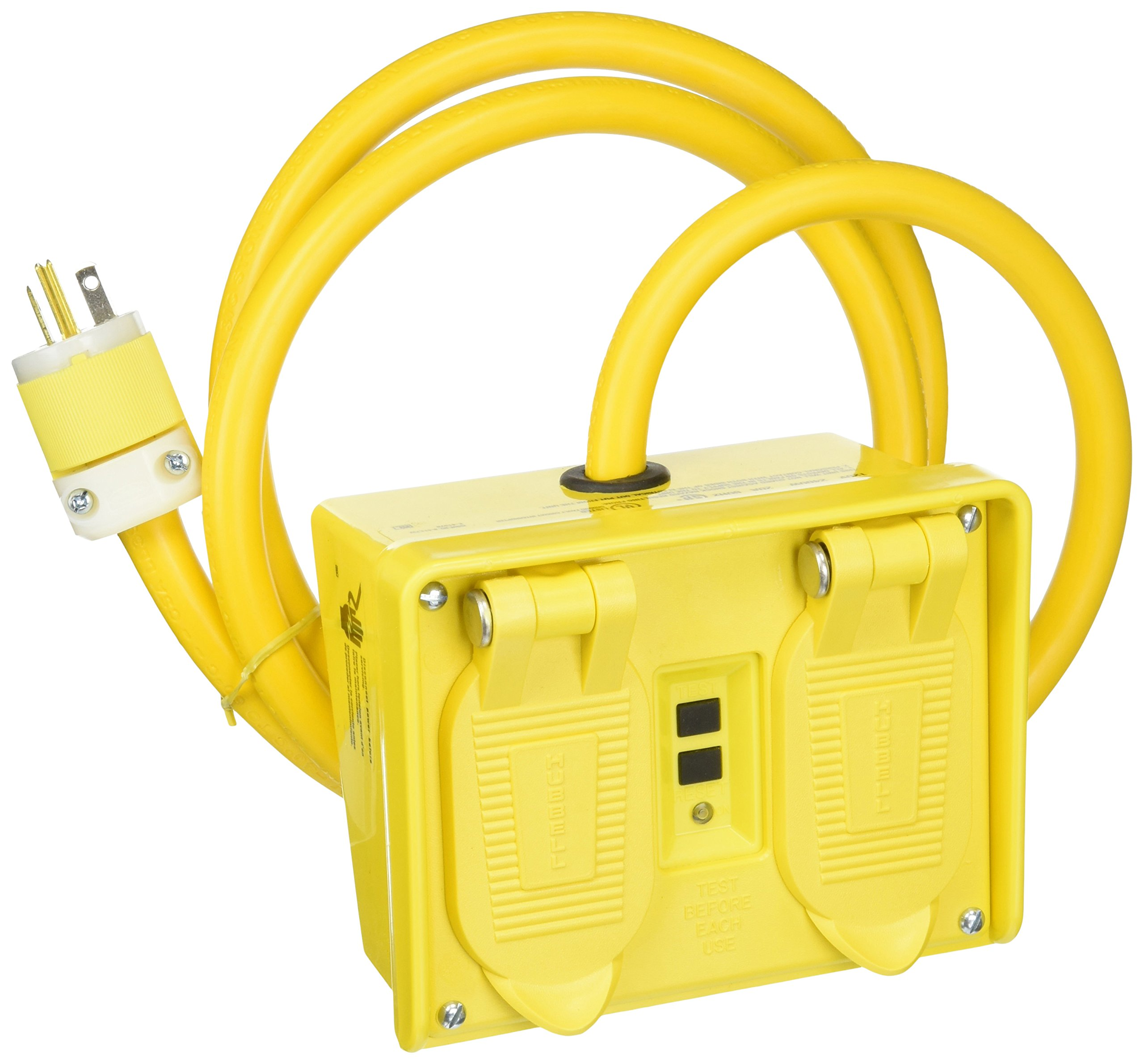 Hubbell GFP20M Port GFCI, 4 Outlet, 20 amp, 120V, Yellow by Hubbell
