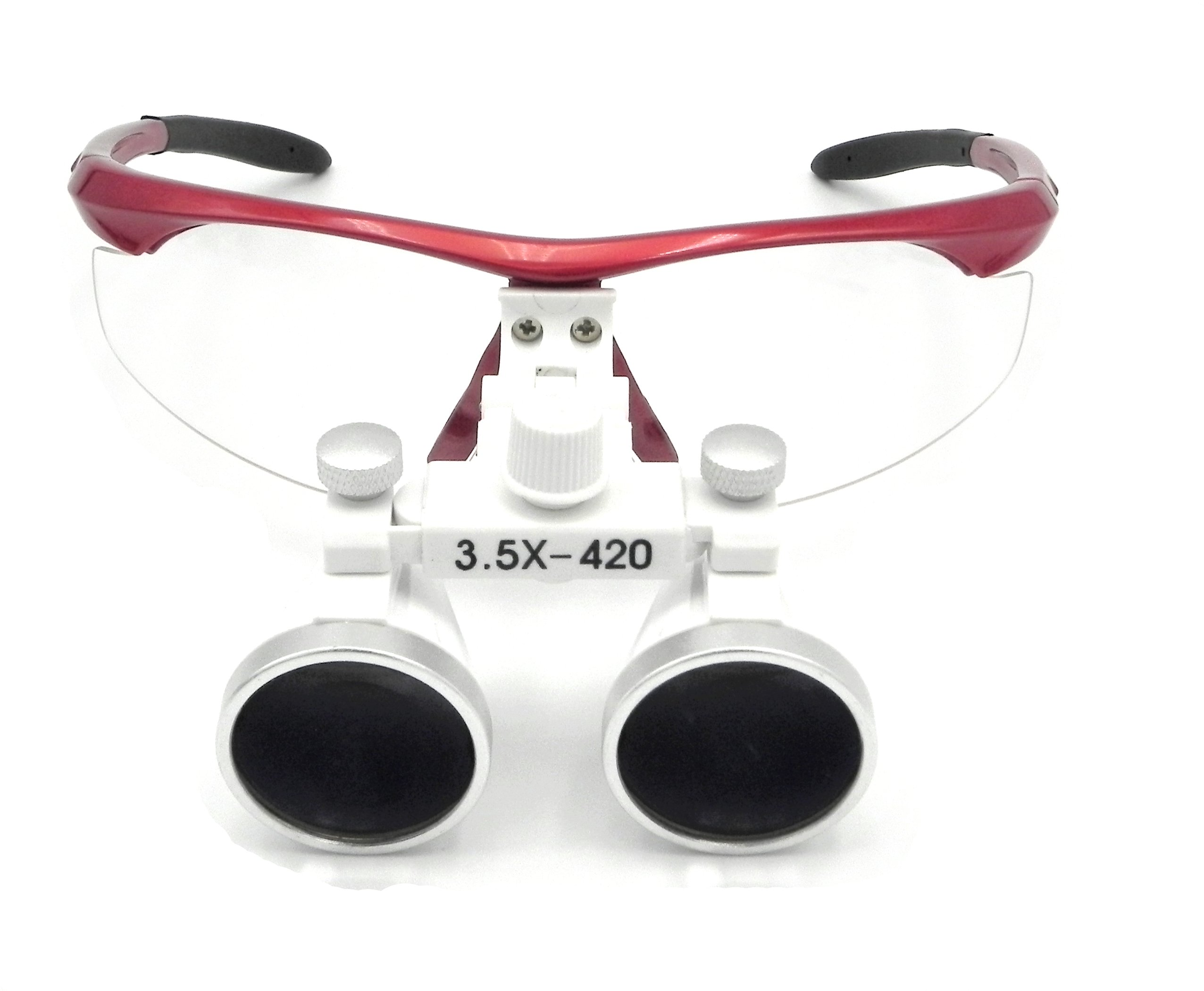 High Quality Dental Surgical Binocular Loupes Optical Glass Loupe 3.5X420mm with LED Head Light Lamp (Red)