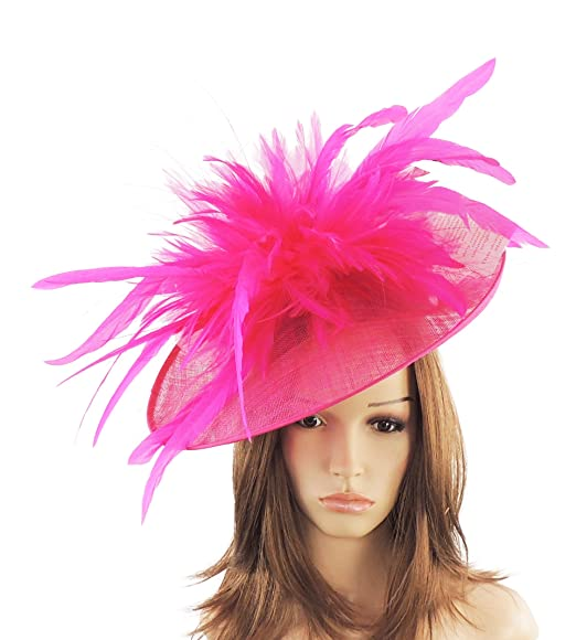 4bfb4d1a1d1fe Gorgeous Ladies Ascot Kentucky Derby Wedding Fascinator Hat Magenta Pink   Amazon.co.uk  Clothing
