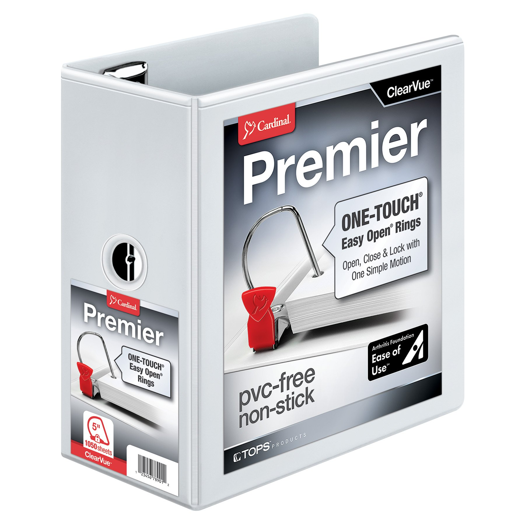 Cardinal Premier Easy Open 3-Ring Binder, 5'', ONE-Touch Easy Open Locking Slant-D Rings, 1,050-Sheet Capacity, ClearVue Cover, White (10350CB) by Cardinal