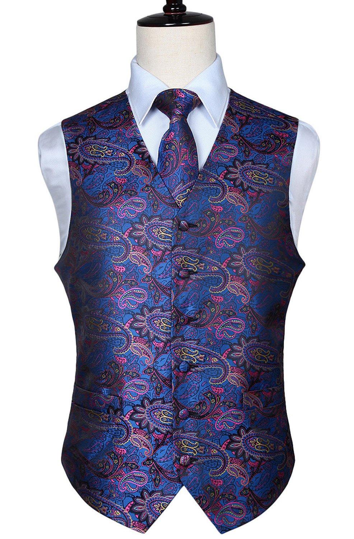HISDERN Men's Paisley Floral Jacquard Waistcoat & Neck Tie and Pocket Square Vest Suit Set