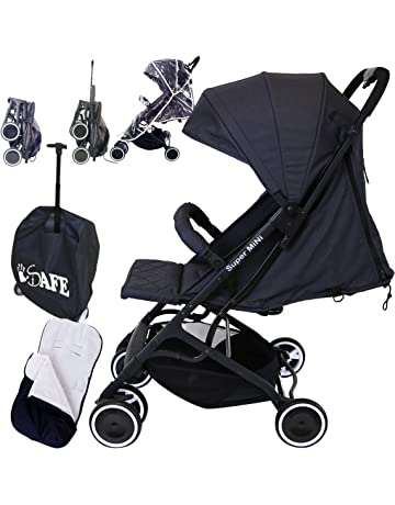 iSafe Super Mini Stroller - Black (Super Small & Lightweight Footmuff & Travel Luggage Bag Included))
